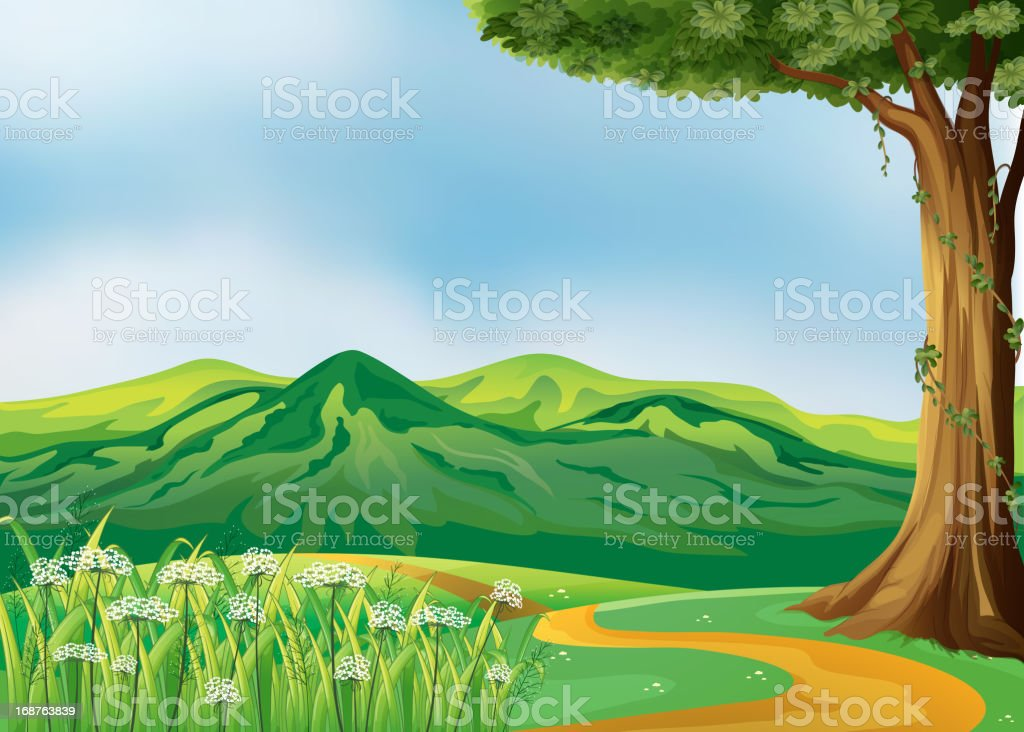 Pathway at the hills royalty-free stock vector art