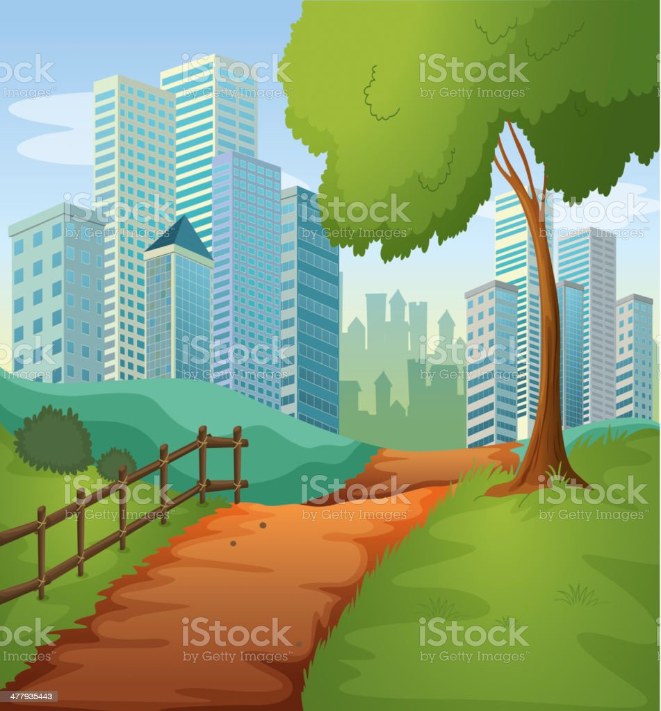 Pathway going to the tall buildings