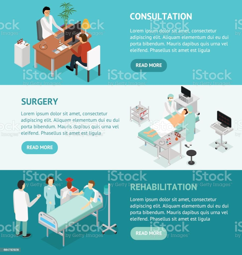 Patient and Doctor Appointment Isometric View. Vector vector art illustration