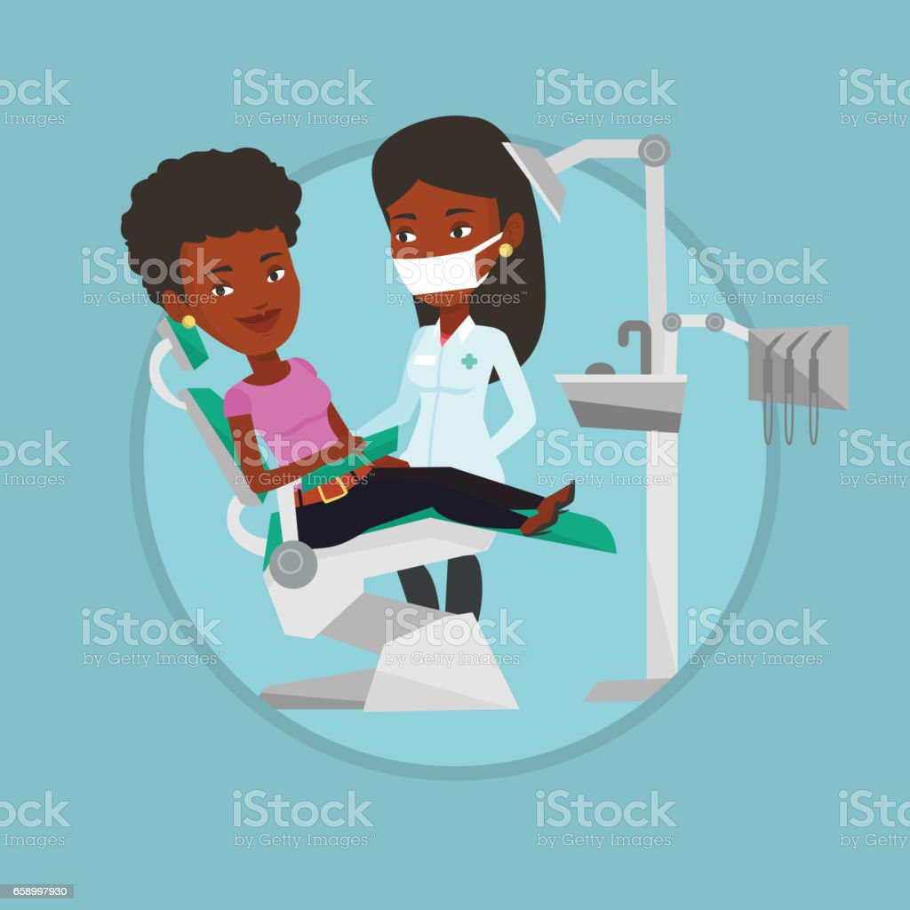 Patient and doctor at dentist office royalty-free patient and doctor at dentist office stock vector art & more images of biomedical illustration