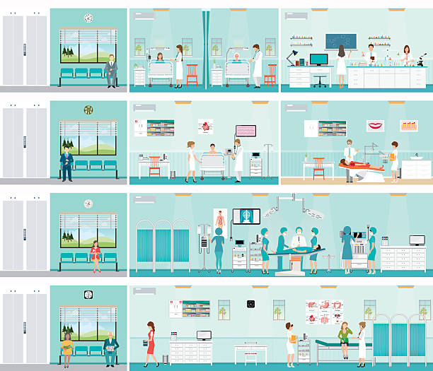 illustrations, cliparts, dessins animés et icônes de patient and doctor in hospital. - hôpital