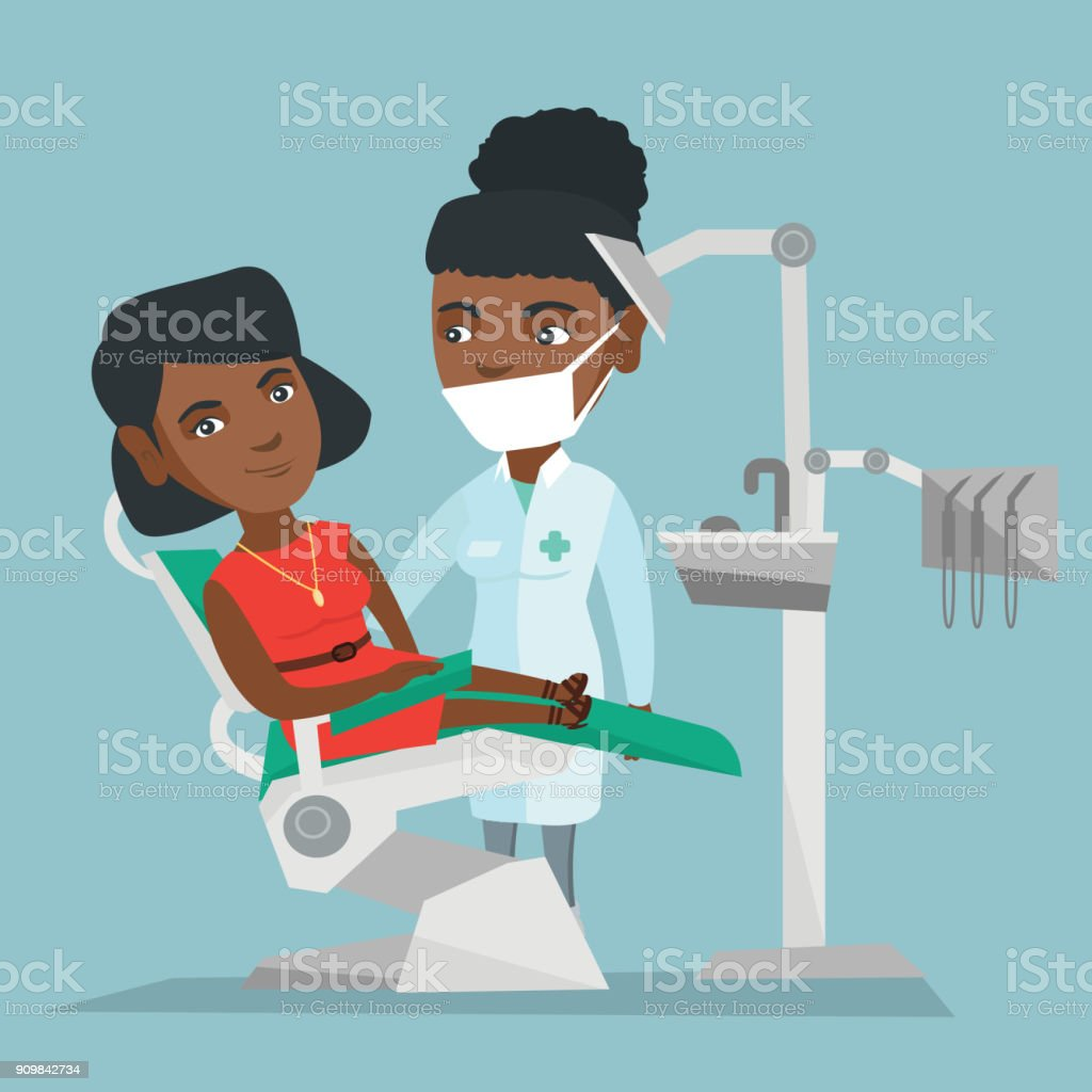Patient and doctor in the office of a dentist vector art illustration