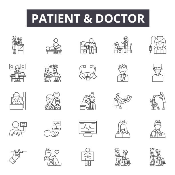 illustrazioni stock, clip art, cartoni animati e icone di tendenza di patient and doctor line icons, signs, vector set, linear concept, outline illustration - paziente