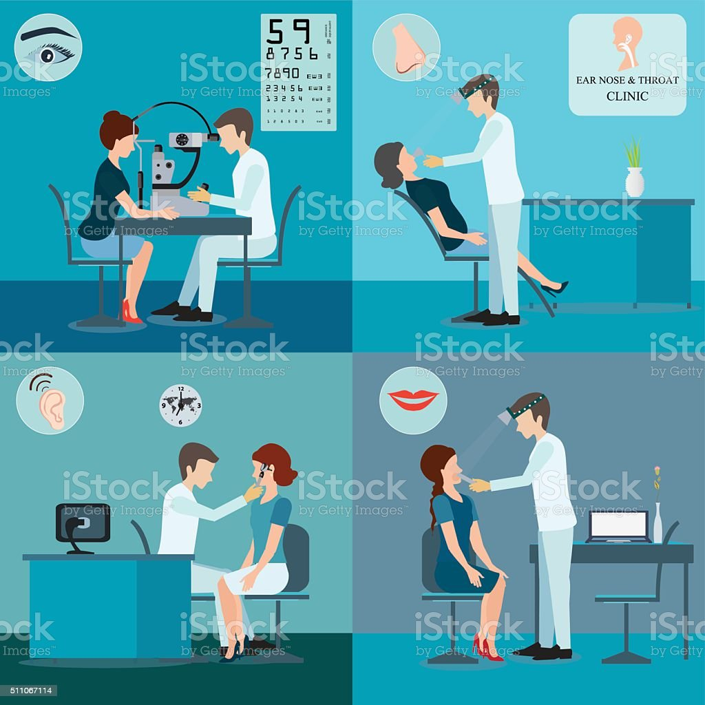 Patient And Doctor Set. vector art illustration