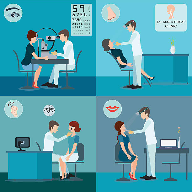 ilustraciones, imágenes clip art, dibujos animados e iconos de stock de paciente y médico conjunto. - optometrista