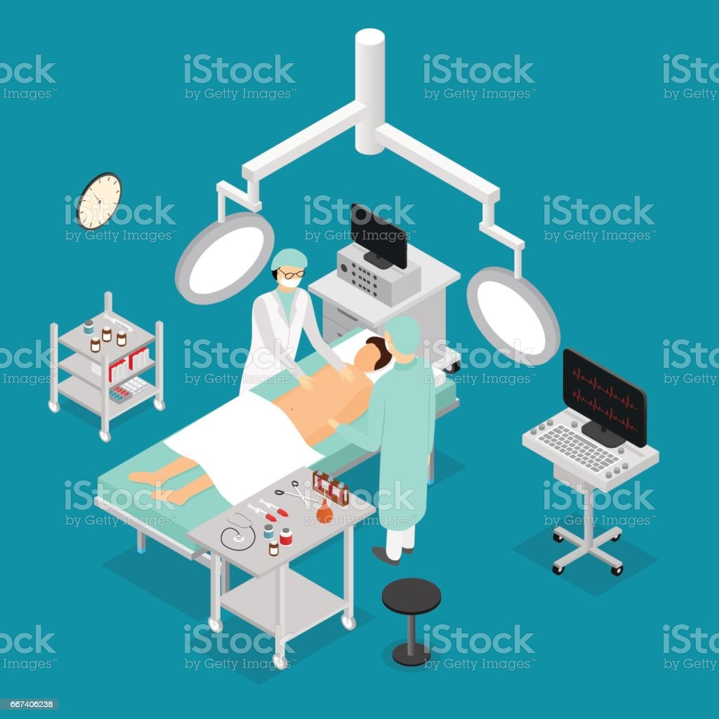 Patient and Doctor Surgery Operating Isometric View. Vector vector art illustration