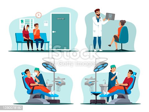 istock Patient at dentist appointment people scene set 1250078182