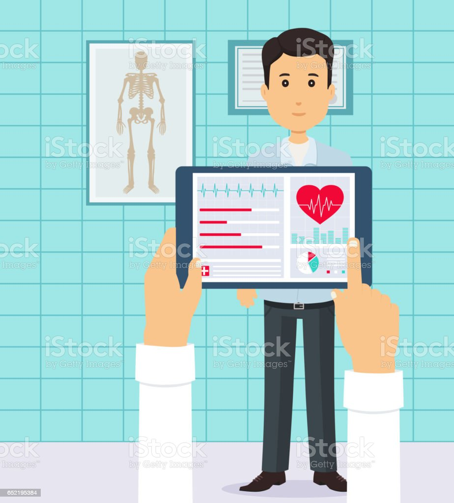 Patient at the doctor. Conducting heart diagnostics using applications on your tablet. vector art illustration