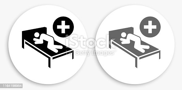 Patient Black and White Round Icon. This 100% royalty free vector illustration is featuring a round button with a drop shadow and the main icon is depicted in black and in grey for a roll-over effect.