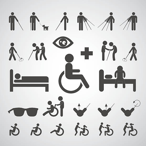 patient blind disabled and old man symbol - old man standing drawings stock illustrations, clip art, cartoons, & icons