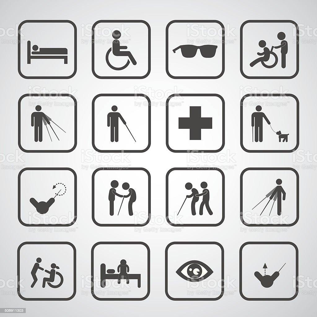 patient blind disabled and old man symbol vector art illustration