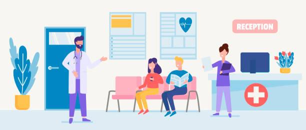 illustrations, cliparts, dessins animés et icônes de soins aux patients et services cliniques. illustration des soins médicaux avec des caractères des médecins certifiés, des infirmières dans une réception d'hôpital. - hall d'accueil