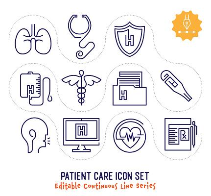 Patient Care Editable Continuous Line Icon Pack