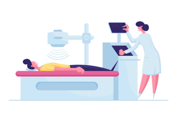 Patient Character Lying Down on X-ray or Mri Scan Machine with Nurse. Magnetic Resonance Imaging Digital Technology in Medicine Diagnostic. Medical Health Care. Cartoon People Vector Illustration Patient Character Lying Down on X-ray or Mri Scan Machine with Nurse. Magnetic Resonance Imaging Digital Technology in Medicine Diagnostic. Medical Health Care. Cartoon People Vector Illustration scientific imaging technique stock illustrations