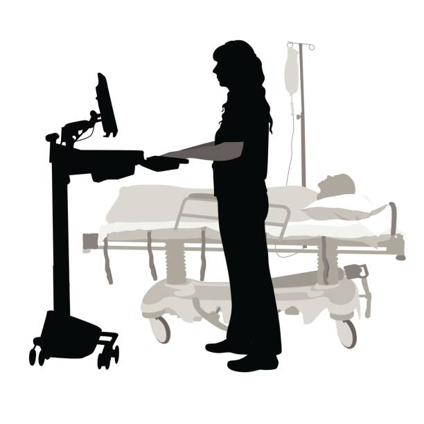 illustrations, cliparts, dessins animés et icônes de recherche de données sur les patients - aide soignant