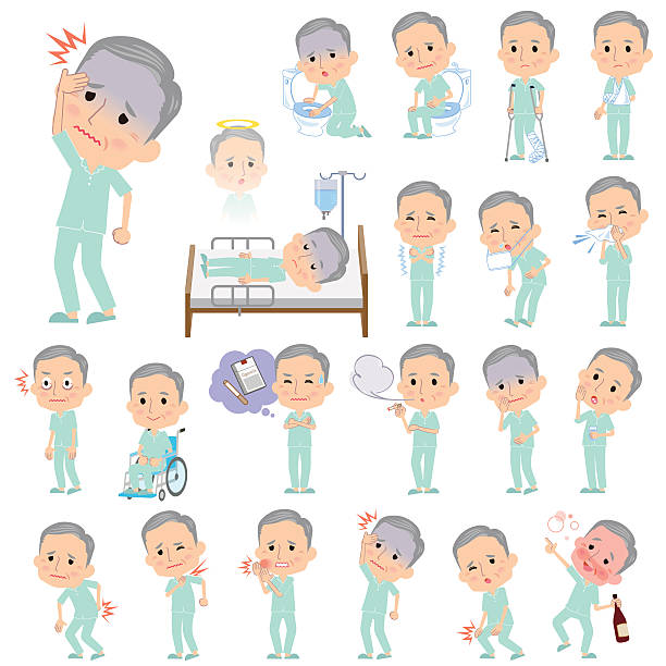 patient grandfather about the sickness - old man pajamas stock illustrations, clip art, cartoons, & icons