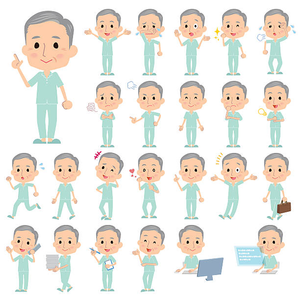 patient grandfather - old man pajamas stock illustrations, clip art, cartoons, & icons