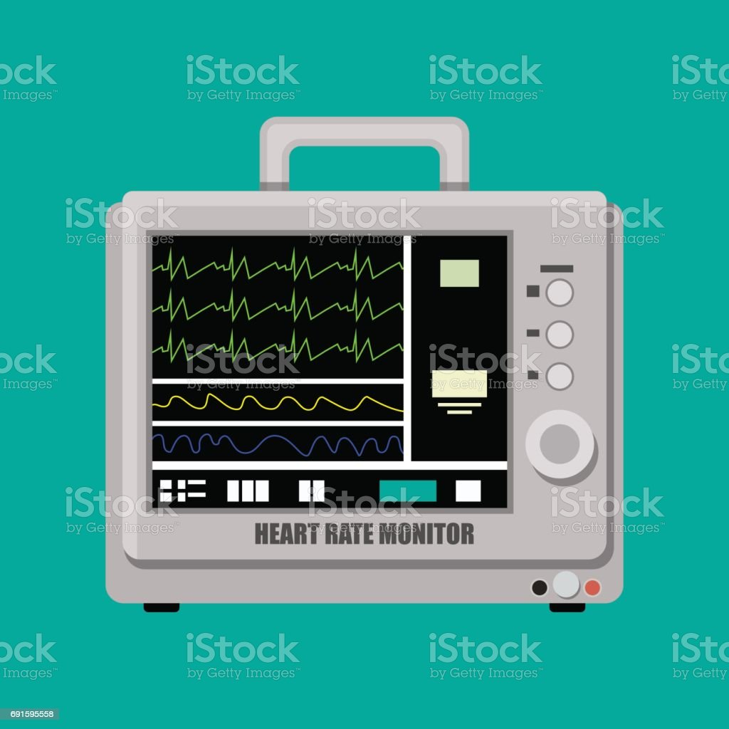 Patient Heart Rate Monitor Stock Illustration - Download Image Now
