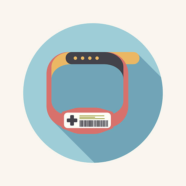 Patient ID Bracelet flat icon with long shadow Patient ID Bracelet flat icon with long shadow inpatient stock illustrations