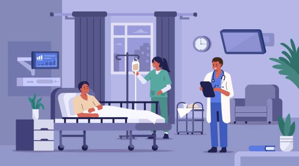 bildbanksillustrationer, clip art samt tecknat material och ikoner med patient på sjukhus - hospital