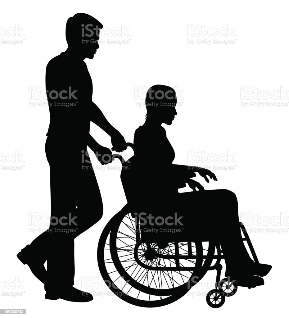 Patient in wheelchair vector art illustration