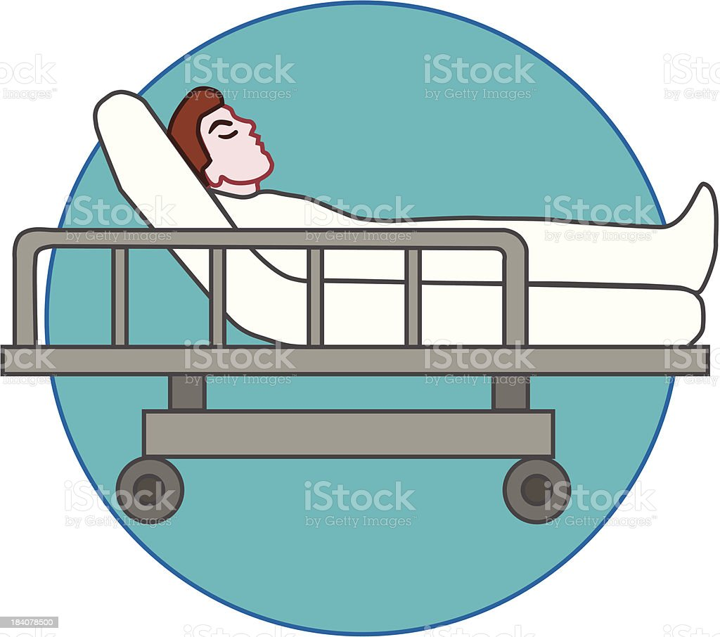 patient laying on stretcher or hospital gurney vector art illustration