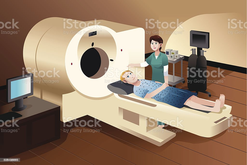 Patient lying down on a scan machine vector art illustration