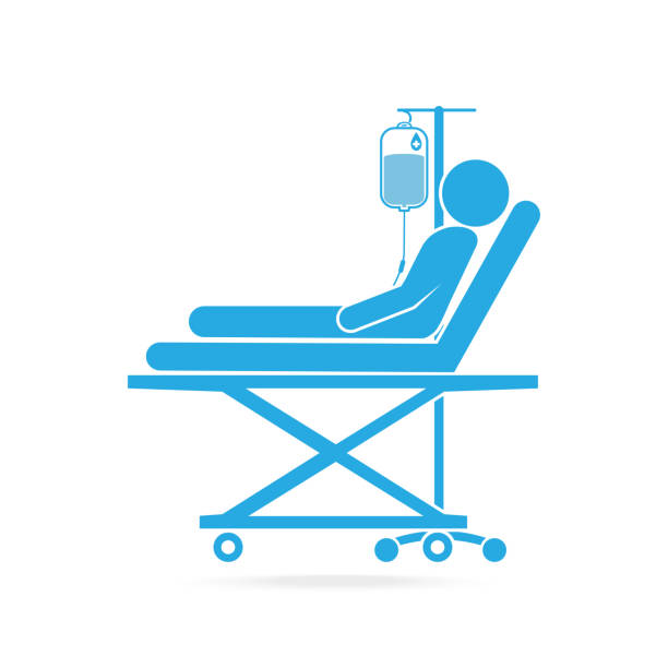 Patient lying in bed with a drop counter icon Patient lying in bed with a drop counter icon hospital bed stock illustrations