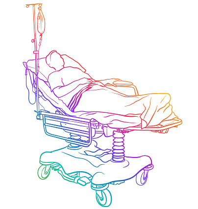 Patient Lying In Hospital Bed Rainbow
