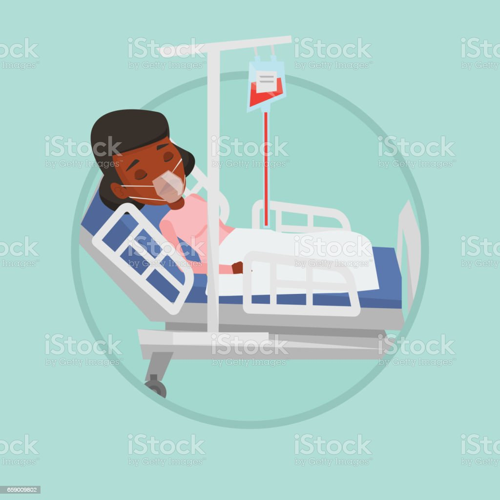 Patient lying in hospital bed with oxygen mask royalty-free patient lying in hospital bed with oxygen mask stock vector art & more images of biomedical illustration