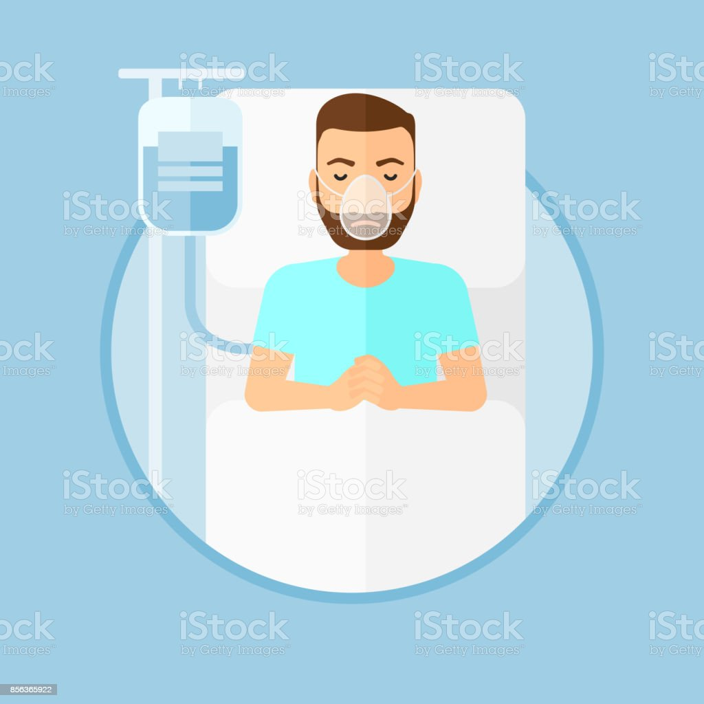 Patient lying in hospital bed with oxygen mask vector art illustration