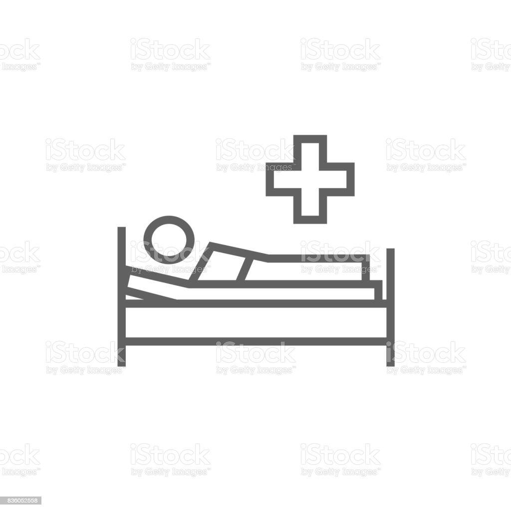 Patienten liegen auf Bett-Linie-icon – Vektorgrafik