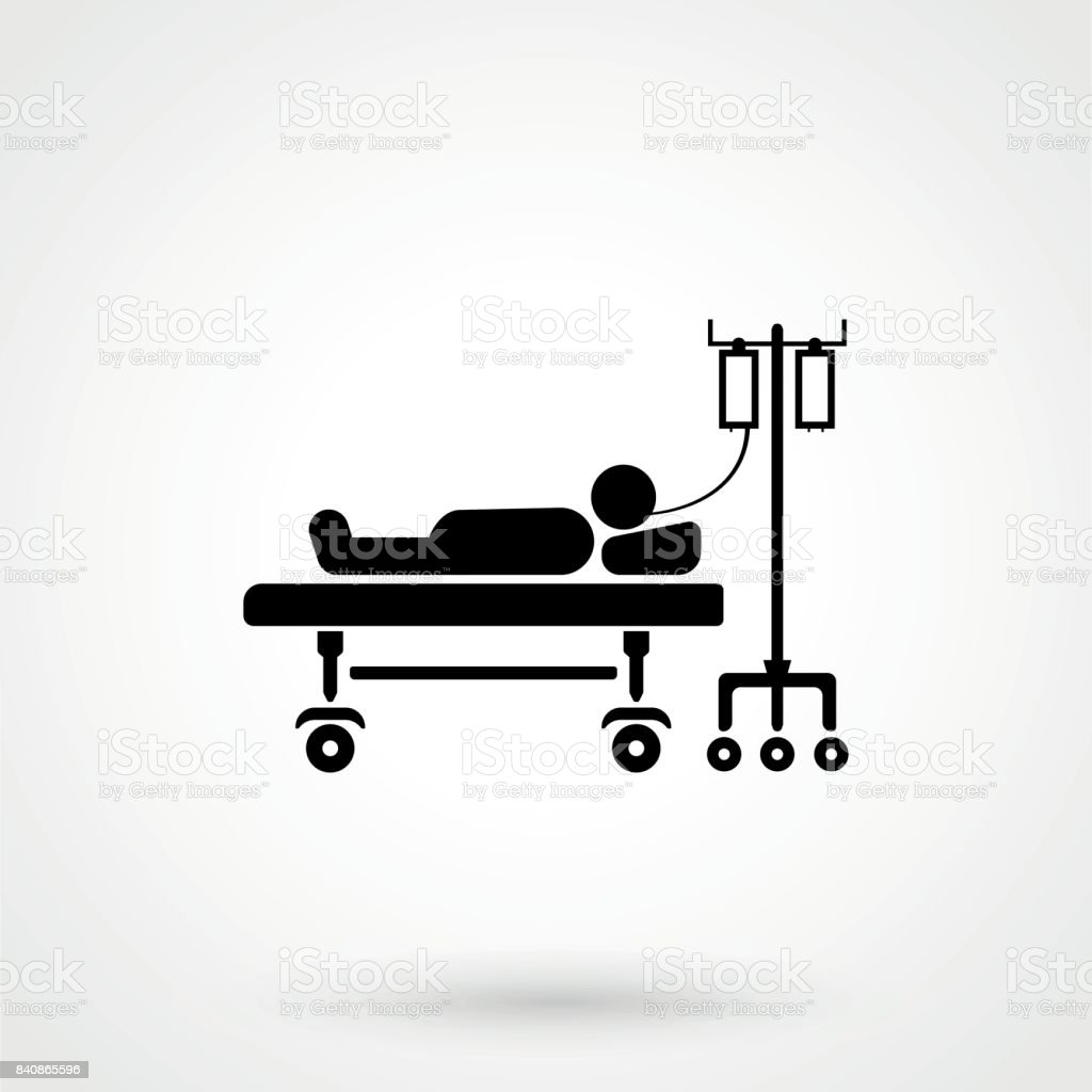 Patient lying on bed vector sketch icon isolated on background. Hand drawn vector art illustration