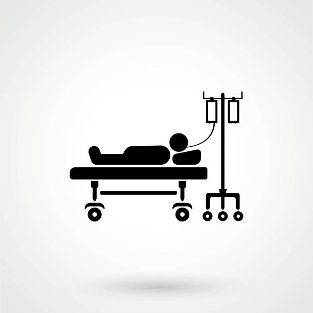 patient lying on bed vector sketch icon isolated on background. hand drawn - bed stock illustrations