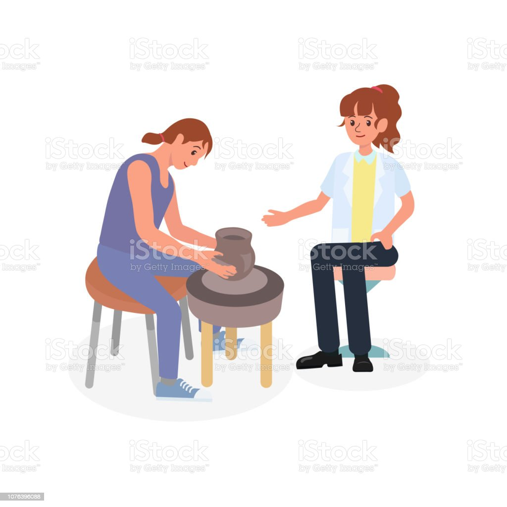 Patient making pottery with occupational therapist in mental health rehabilitation session. Art and craft activity often use as a therapy in psychiatric clinic. vector art illustration