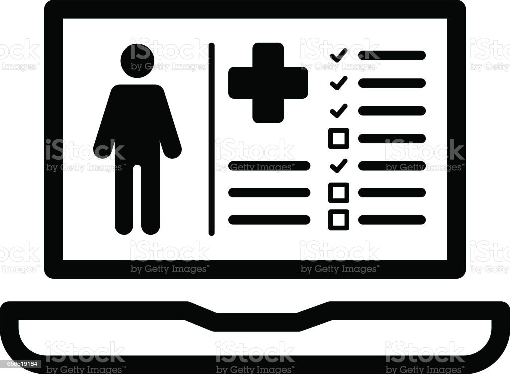 Patient Medical Record Icon. Flat Design vector art illustration