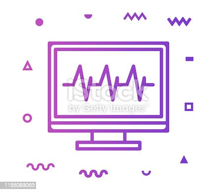 Patient monitoring outline style icon design with decorations and gradient color. Line vector icon illustration for modern infographics, mobile designs and web banners.