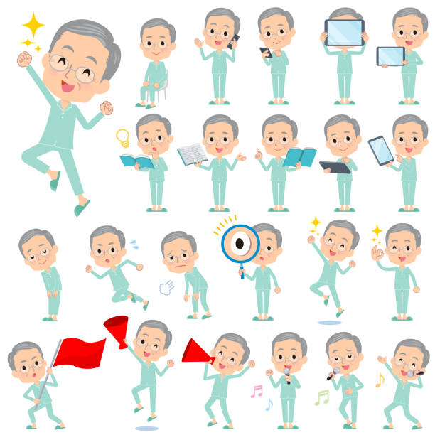 patient old men_action - old man pajamas stock illustrations, clip art, cartoons, & icons