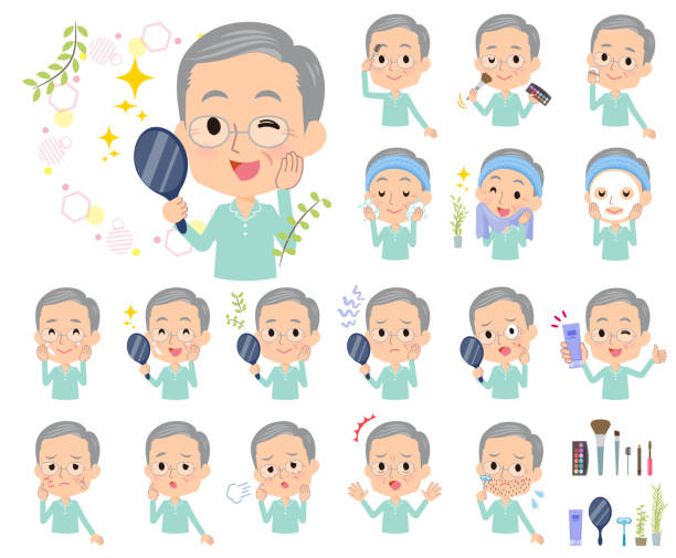 patient old men_beauty - old man pajamas stock illustrations, clip art, cartoons, & icons