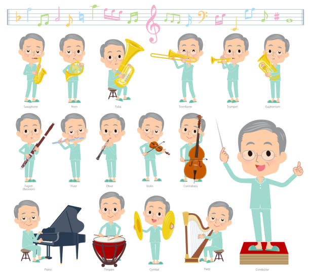 patient old men_classic music - old man pajamas stock illustrations, clip art, cartoons, & icons
