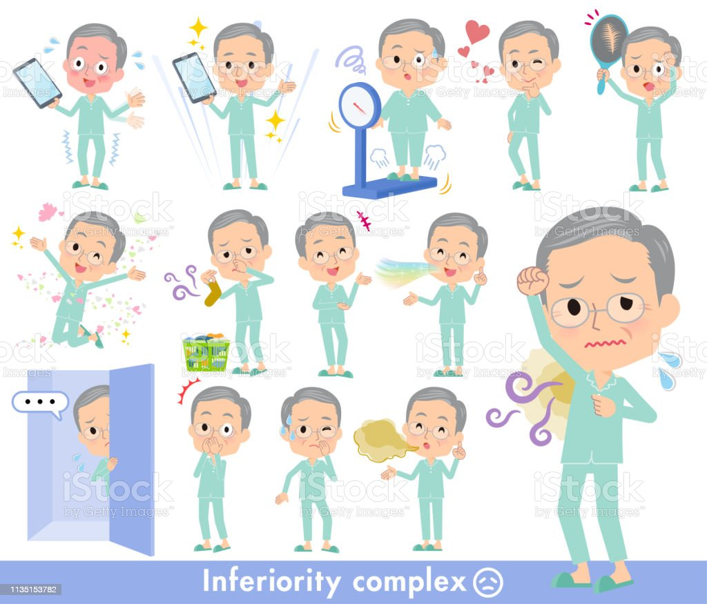 patient old men_complex vector art illustration