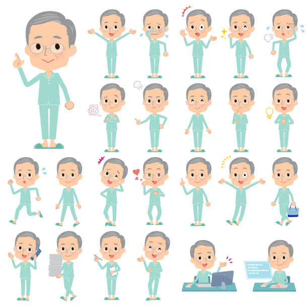 patient old men_emotion - old man pajamas stock illustrations, clip art, cartoons, & icons