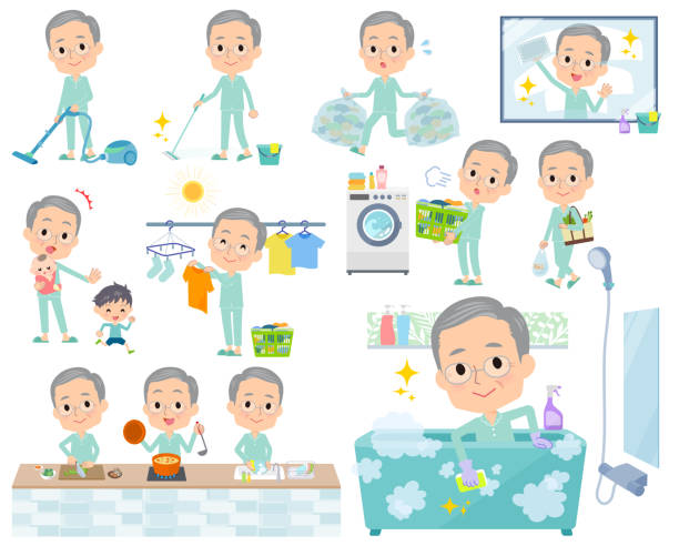patient old men_housekeeping - old man pajamas stock illustrations, clip art, cartoons, & icons