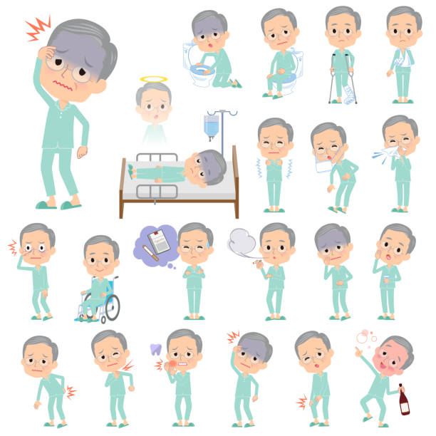 patient old men_sickness - old man pajamas stock illustrations, clip art, cartoons, & icons