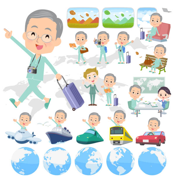 patient old men_travel - old man pajamas stock illustrations, clip art, cartoons, & icons