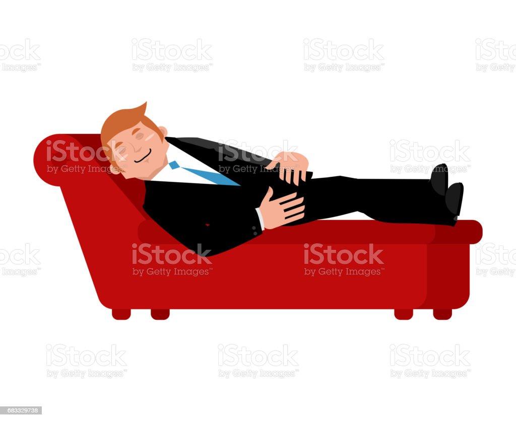 Patiënt op psychologen Bank is geïsoleerd. Ontspannen zakenman ligt. Raadpleging van de psychotherapeut royalty free patiënt op psychologen bank is geïsoleerd ontspannen zakenman ligt raadpleging van de psychotherapeut stockvectorkunst en meer beelden van advies