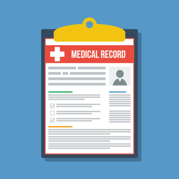 illustrazioni stock, clip art, cartoni animati e icone di tendenza di patient paper medical record, flat vector illustration - scheda clinica