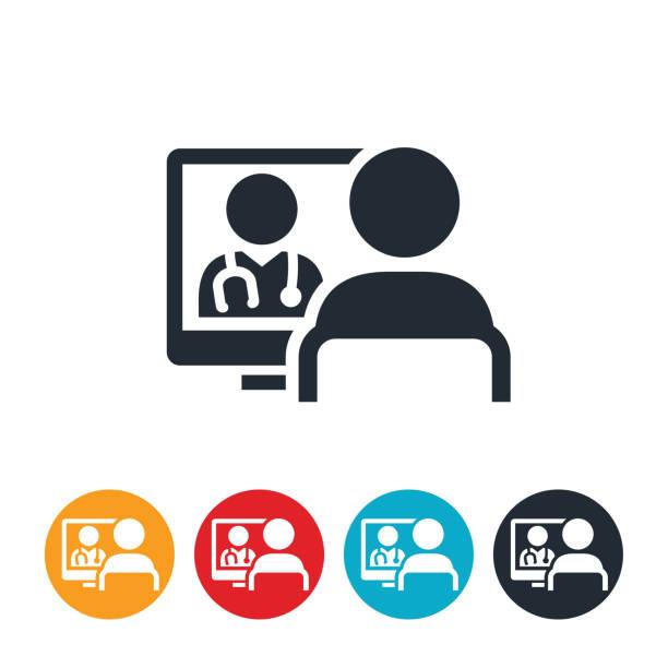 ilustraciones, imágenes clip art, dibujos animados e iconos de stock de paciente que recibe icono salud virtual - telehealth