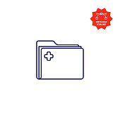 istock Patient Record Folder Icon with Editable Stroke and Pixel Perfect. 1191928640