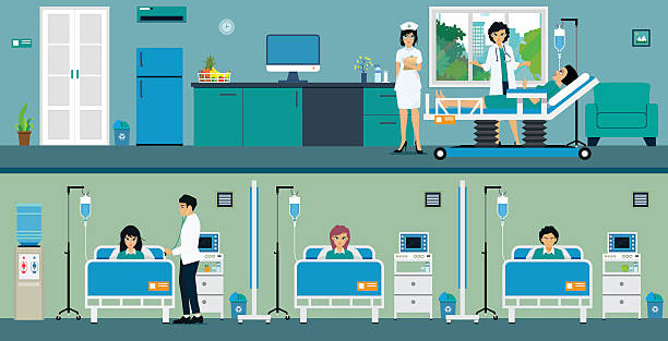 Patient room Patients in a hospital room with a great room and a common room. inpatient stock illustrations